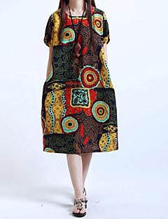 Damen Swing Kleid-Alltag Ausgehen Druck Rundhalsausschnitt Knielang Kurzarm Polyester Mittlere Hüfthöhe Unelastisch Mittel