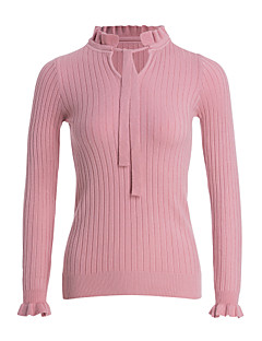 tanie Swetry damskie-Damskie Dekolt w kształcie litery U Pulower - Falbany, Jendolity kolor Długi rękaw
