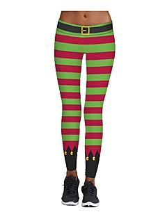 billige julen Kostymer-Juletrær Bukser Dame Jul Festival / høytid Halloween-kostymer Regnbue Grønn Fuksia Oransje Gul Mønster