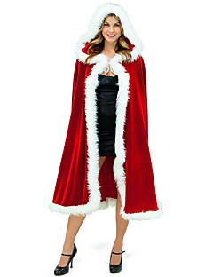 billige julen Kostymer-Nisse drakter Mrs.Claus julenissen Kappe Dame Jul Festival / høytid Halloween-kostymer Rød Ensfarget