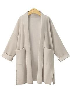 billige Plus Størrelser-Dame-Dame Sofistikerede I-byen-tøj Langærmet Lang Cardigan - Ensfarvet V-hals