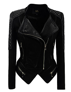 cheap -Women's Daily Vintage Fall Short Leather Jacket, Solid Shirt Collar PU