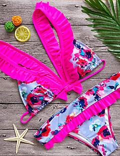 billige Bikinier og damemote 2017-Dame Med stropper Bikini - Trykt mønster Blomstret / Drapering / Blomstermønstre