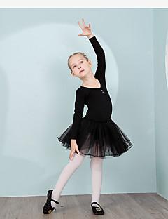 tanie Dziecięca odzież do tańca-Dziecięca odzież do tańca Leotards Szkolenie Bawełna Kryształy / kryształy górskie Długi rękaw Naturalny Trykot opinający ciało / Śpiochy