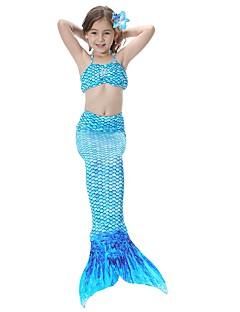 billige Barnekostymer-The Little Mermaid Skjørt Barne Halloween Halloween Festival / høytid Halloween-kostymer Drakter Rosa / Gylden / Fuksia Havfrue