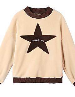 Dames Casual/Dagelijks Sweatshirt Effen Ronde hals Micro-elastisch Katoen Lange Mouw Winter