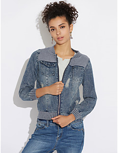 Women's Daily Modern/Contemporary Fall Denim Jacket,Print Round Neck Long Sleeve Short Others