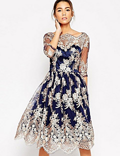 Women's Going out Vintage A Line Dress,Floral Jacquard Round Neck Knee-length 3/4 Sleeve Polyester Fall High Rise Stretchy Thin