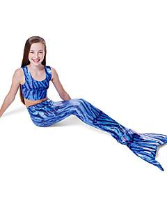 baratos Fantasias de Crianças-The Little Mermaid Bikini Roupa de Banho Crianças Natal Baile de Máscaras Festival / Celebração Trajes da Noite das Bruxas Azul Estampa