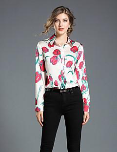 preiswerte -Damen Druck Freizeit Chinoiserie Alltag Arbeit Hemd,Hemdkragen Herbst Langärmelige Polyester Undurchsichtig