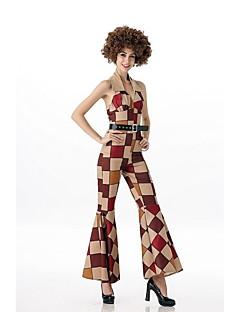 Vintage Jaren '20 Hippie Kostuum Vrouwelijk Feestkostuum Beige Vintage Cosplay Met Opvulling Lovertje  Mouwloos Koude schouder Slip