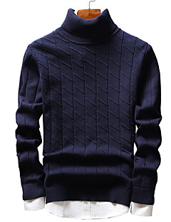 baratos Suéteres & Cardigans Masculinos-Homens Fofo Moda de Rua Manga Longa Pulôver - Sólido