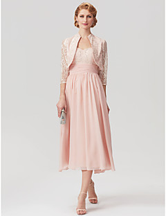cheap Mother of the Bride Dresses-Sheath / Column Straps Tea Length Chiffon Lace Mother of the Bride Dress with Sequin Ruched by LAN TING BRIDE®