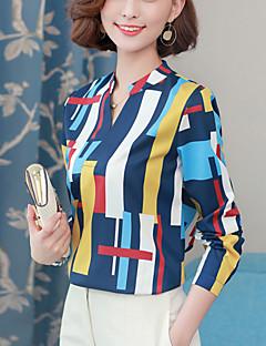 billige Topper til damer-Polyester Lanterne Erme V-hals Skjorte - Regnbue Arbeid Dame