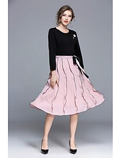 זול ביגוד נשים-סתיו פוליאסטר שרוול ארוך עד הברך צווארון עגול טלאים סגנון סיני ליציאה יום יומי\קז'ואל שמלה גזרת A נשים,גיזרה בינונית (אמצע) סטרצ'י (נמתח)