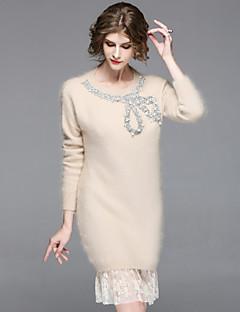 זול שמלות נשים-חרוזים, אחיד - שמלה סריגים בגדי ריקוד נשים