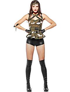 billige Halloweenkostymer-Soldier Kjoler Cosplay Kostumer Hansker Hatter Dame Halloween Karneval Nytt År Festival / høytid Halloween-kostymer Grønn Kamuflasje