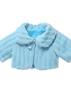 tanie Odzież dla dziewczynek-Kurtka / płaszcz Sztuczne futro Dla dziewczynek Jendolity kolor Długi rękaw Prosty Kreskówka Niebieski Blushing Pink Beige Khaki