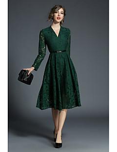Χαμηλού Κόστους SHE IN SUN-Γυναικεία Εξόδου Μπόχο / Κομψό στυλ street Γραμμή Α / Δαντέλα Φόρεμα - Μονόχρωμο, Δαντέλα Μίντι Λαιμόκοψη V