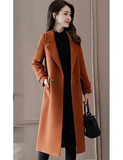 Napi Vintage V-alakú-Női Kabát,Egyszínű Ősz Hosszú ujj Hosszú Poliészter