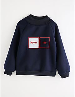 billige Hættetrøjer og sweatshirts til piger-Pige T-shirt Ensfarvet, Bomuld Efterår Tegneserie Navyblå Grå Gul