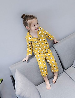Tyttöjen Piirretty Uniasut Polyesteri Pitkähihainen Cartoon Punastuvan vaaleanpunainen Keltainen