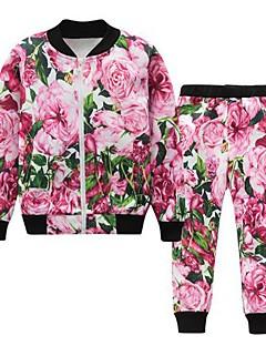 baratos -Para Meninas Conjunto Floral Primavera Outono Algodão Raiom Simples Activo Vermelho