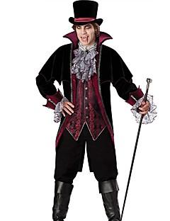 Vintage Elegant Kostuum Mannelijk Feestkostuum Zwart Vintage Cosplay Katoen Polyster Lange mouw Bisschop Tot de enkel