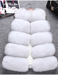 cheap -Women's Daily Sophisticated Winter Fall Fur Coat,Solid V Neck Sleeveless Regular Fox Fur
