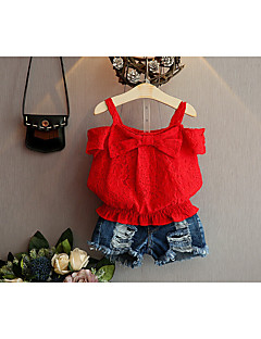 levne Dívčí oblečení-Dívčí Bavlna Polyester Jednobarevné Léto Soupravičky, Bez rukávů Jednoduchý Aktivní Rubínově červená