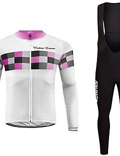 baratos -Wisdom Leaves Camisa com Calça Bretelle Unisexo Manga Longa Moto Camisa/Roupas Para Esporte Conjuntos de Roupas Roupa de Ciclismo Secagem