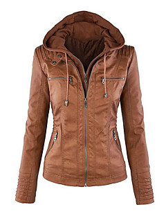 cheap -Women's Daily Weekend Casual Winter Fall Long Leather Jacket, Solid Round Neck PU Oversized
