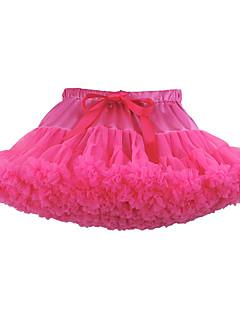 billige Babyunderdele-Baby Pige Nederdel Ensfarvet, Polyester Grå Lilla Rosa Lyseblå Marineblå