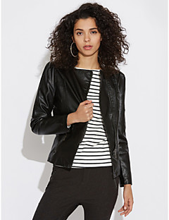 Women's Daily Simple Casual Fall Leather Jacket,Solid Peaked Lapel Long Sleeve Short PU