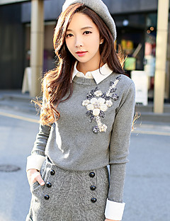 baratos Suéteres de Mulher-Mulheres Vintage Pulôver - Sólido, Com Miçangas Flor