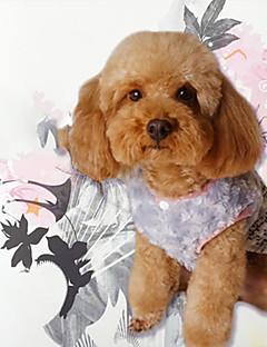 billiga Hundkläder-Hund Tröja Jumpsuits Klänningar Hundkläder Crewels Färgat garn Reaktiv Tryck Rosett Toile Vadderat tyg Bomullstyg Bomull / Linneblandning
