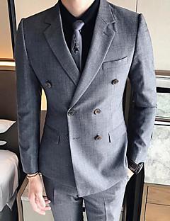 billige Herremote og klær-Bomull Polyester Normal Overstørrelse Skjortekrage Blazer Hundetannmønster Vinter Høst Enkel Fritid/hverdag Arbeid Herre