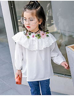 cheap Girls' Tops-Girls' Solid Floral Embroidered Shirt,Cotton Spring Fall ¾ Sleeve Simple Cute White