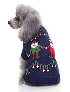 billiga Hundkläder-Katt Hund Tröjor Hundkläder Jul Mörkblå Akrylik Fiber Kostym För husdjur Herr Dam Ledigt/vardag Jul