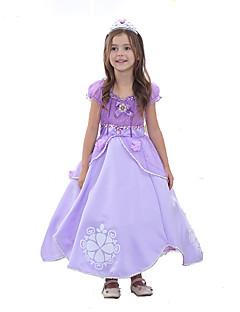 billige Halloweenkostymer-Prinsesse / Sofia Kjoler Halloween Festival / høytid Halloween-kostymer Lys Lilla Fargeblokk Ballkjole Sko / Tegneserie Bedårende