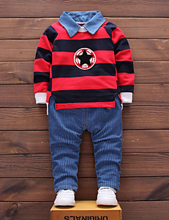 Boys' Striped Clothing Set,Cotton All Seasons Long Sleeve Simple Cute Street chic Green Red