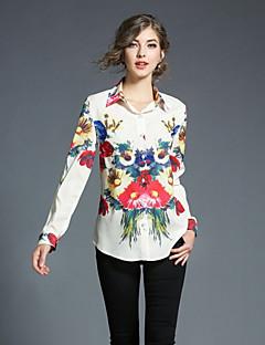 preiswerte -Damen Blumen Geometrisch Freizeit Alltag Ausgehen Hemd,Hemdkragen Herbst Langärmelige Polyester Undurchsichtig