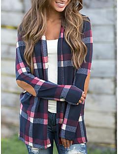 baratos Blusas Femininas-Mulheres Camisa Social Boho Geométrica Estampa Colorida Xadrez Algodão Fibra Sintética