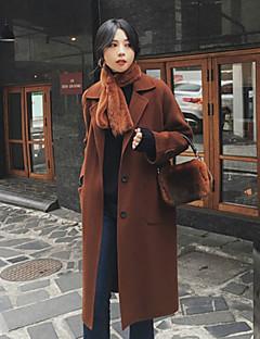 baratos -Feminino Casaco Casual Vintage Inverno Outono,Sólido Longo Lã Pêlo Sintético Lapela Chanfrada Manga Comprida Oversized