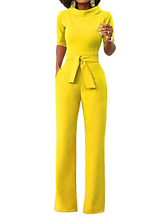 cheap Clearance-Women's Wide Leg Daily / Weekend Turtleneck Yellow Wine Army Green Wide Leg Jumpsuit, Solid Colored L XL XXL Half Sleeve Spring Summer / Slim