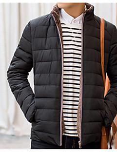 コート レギュラー パッド入り メンズ,カジュアル/普段着 プラスサイズ ソリッド ポリエステル コットン-シンプル 長袖