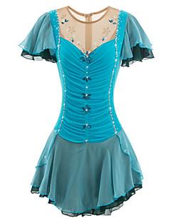 Eiskunstlaufkleid Damen Mädchen Eislaufen Kleider Blau Elasthan Strass Applikationen Pailletten Pearlen Hochelastisch Leistung