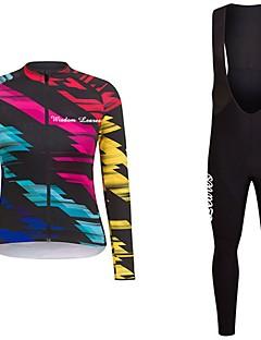 billige Sykkelklær-Wisdom Leaves Langermet Sykkeljersey med bib-tights - Mørk Rosa / Rød+Blå Sykkel Jersey / Klessett Polyester Geometrisk / Elastisk