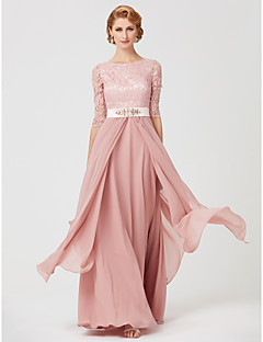 cheap Mother of the Bride Dresses-A-Line Jewel Neck Ankle Length Chiffon Metallic Lace Mother of the Bride Dress with Beading Sash / Ribbon by LAN TING BRIDE®