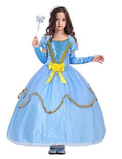 billige Halloweenkostymer-Prinsesse Cinderella Eventyr Kjoler Party-kostyme Barne Jul Maskerade Bursdag Festival / høytid Halloween-kostymer Blå Ensfarget